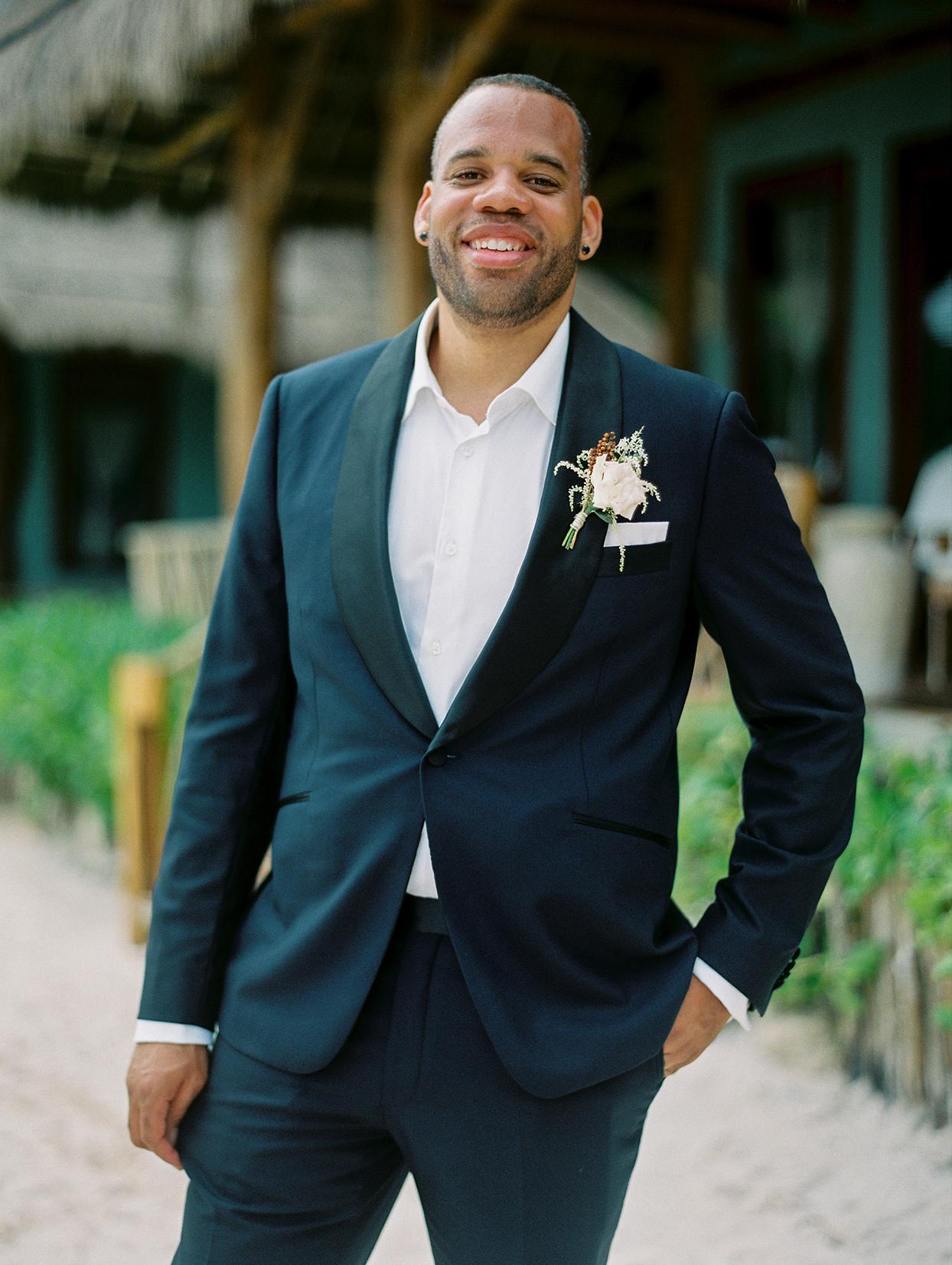 wedding groom in dark blue suit