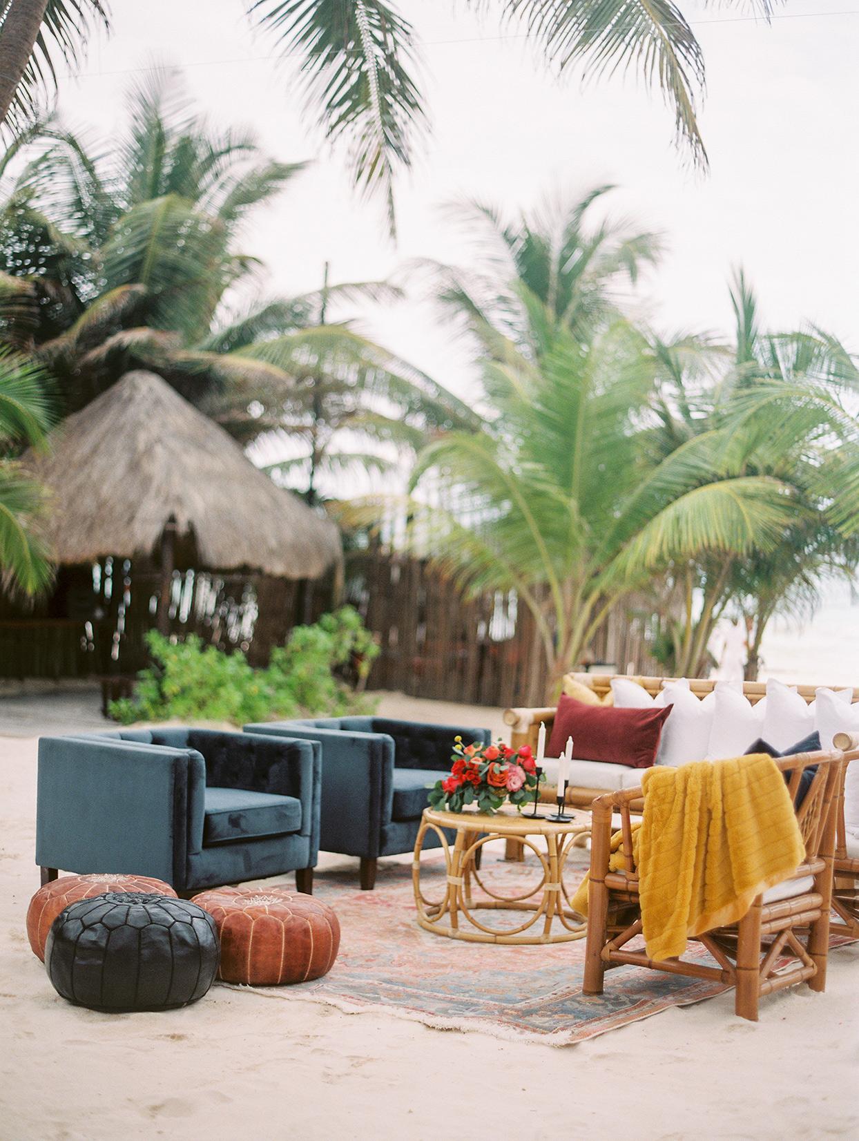 bohemian wedding beach lounge area
