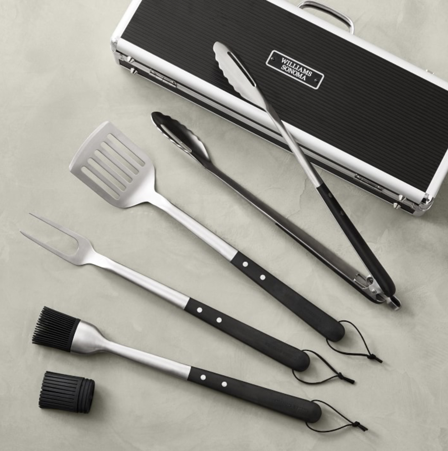 Williams-Sonoma Black-Handled Four-Piece BBQ Tool Set with Storage Case