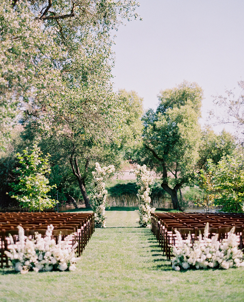 outdoor wedding space pond view