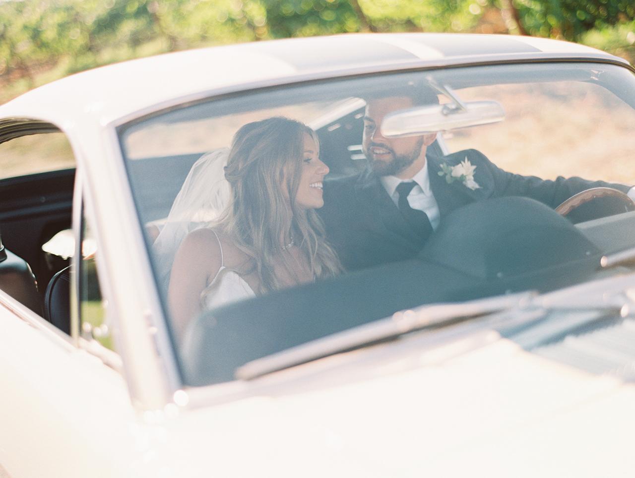 wedding couple classic car
