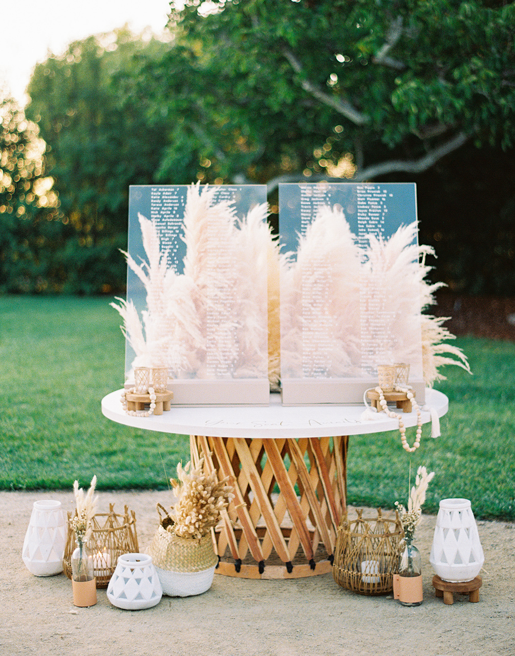 oversized white table woven base acrylic guest list