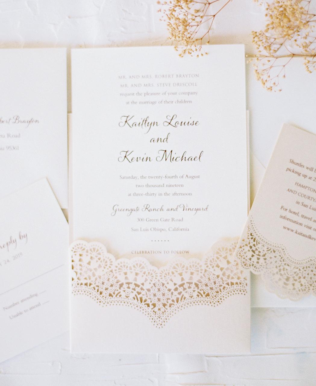 wedding invitation suite neutral color gold accent lace cut-outs