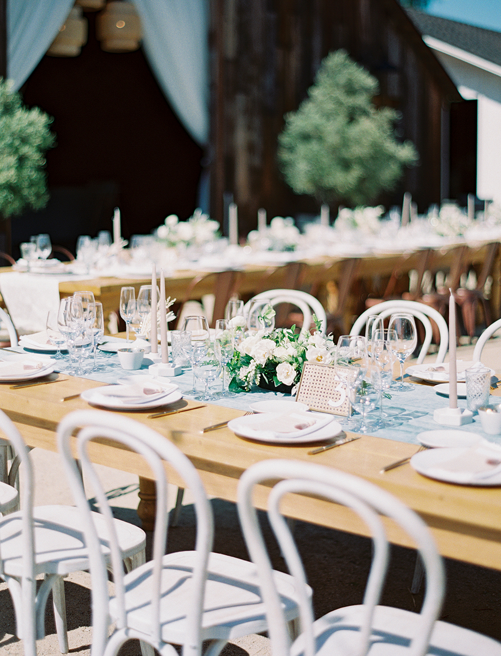 outdoor wedding tables white accents