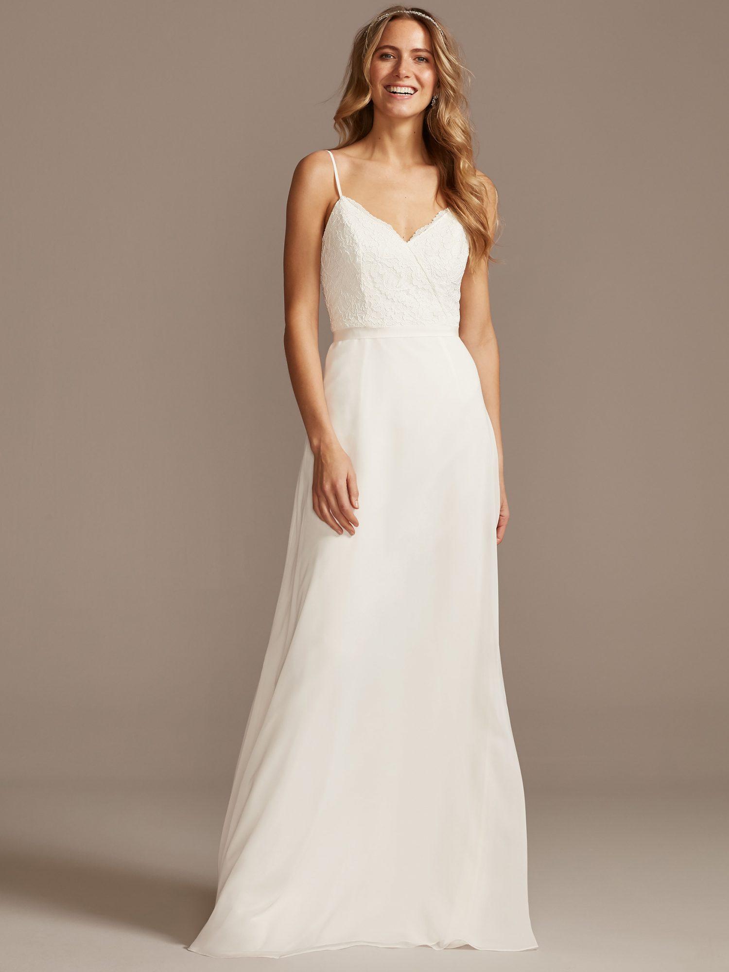 davids bridal thin strap v-neck a-line wedding dress spring 2021