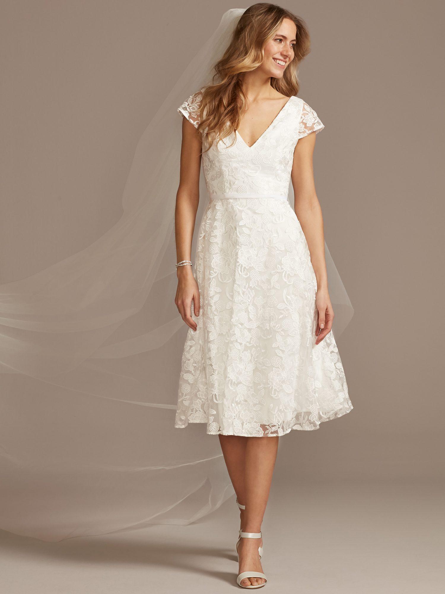 davids bridal knee-length cap sleeve wedding dress spring 2021