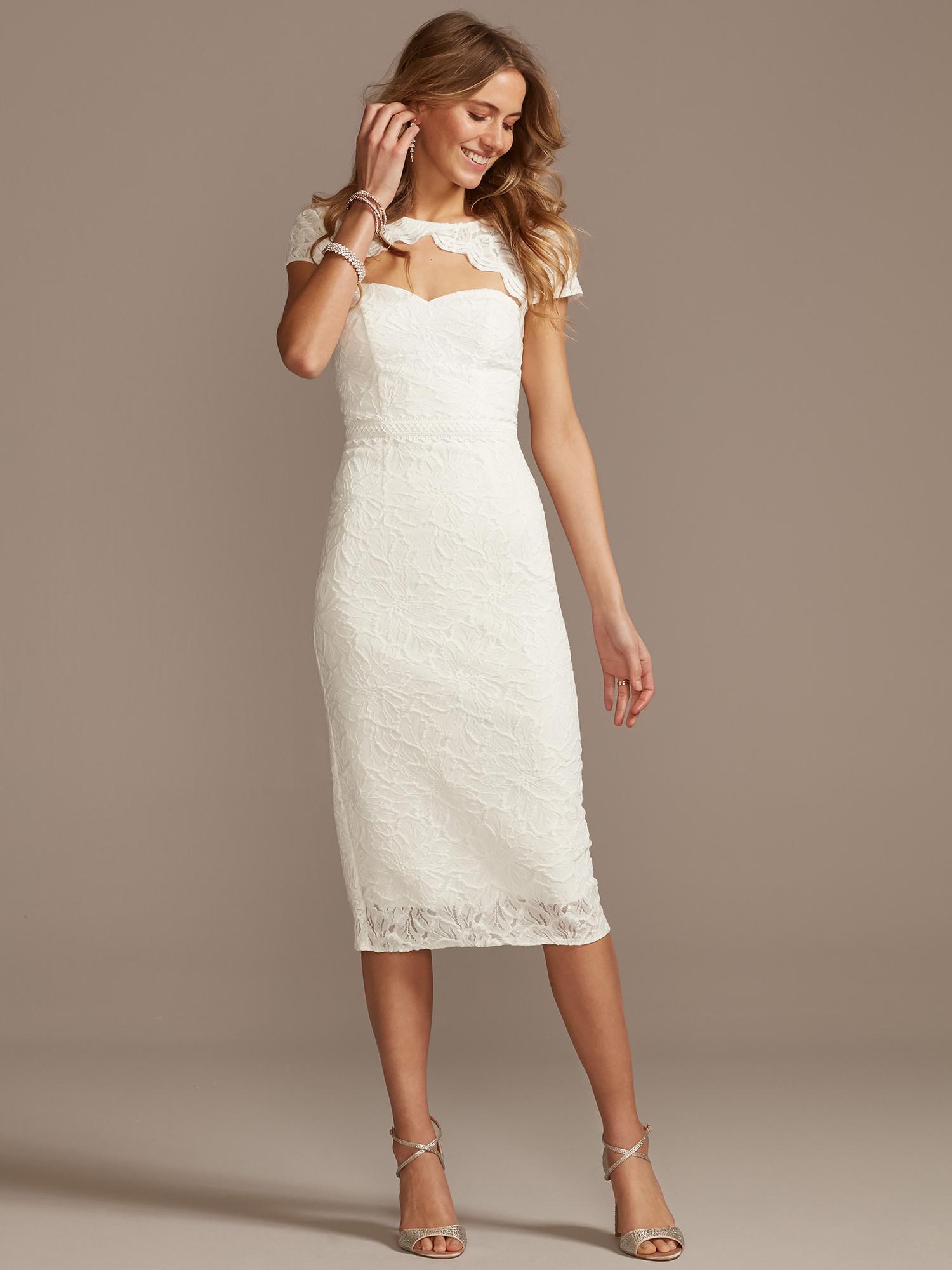 davids bridal front key-hole short sleeve knee-length wedding dress spring 2021