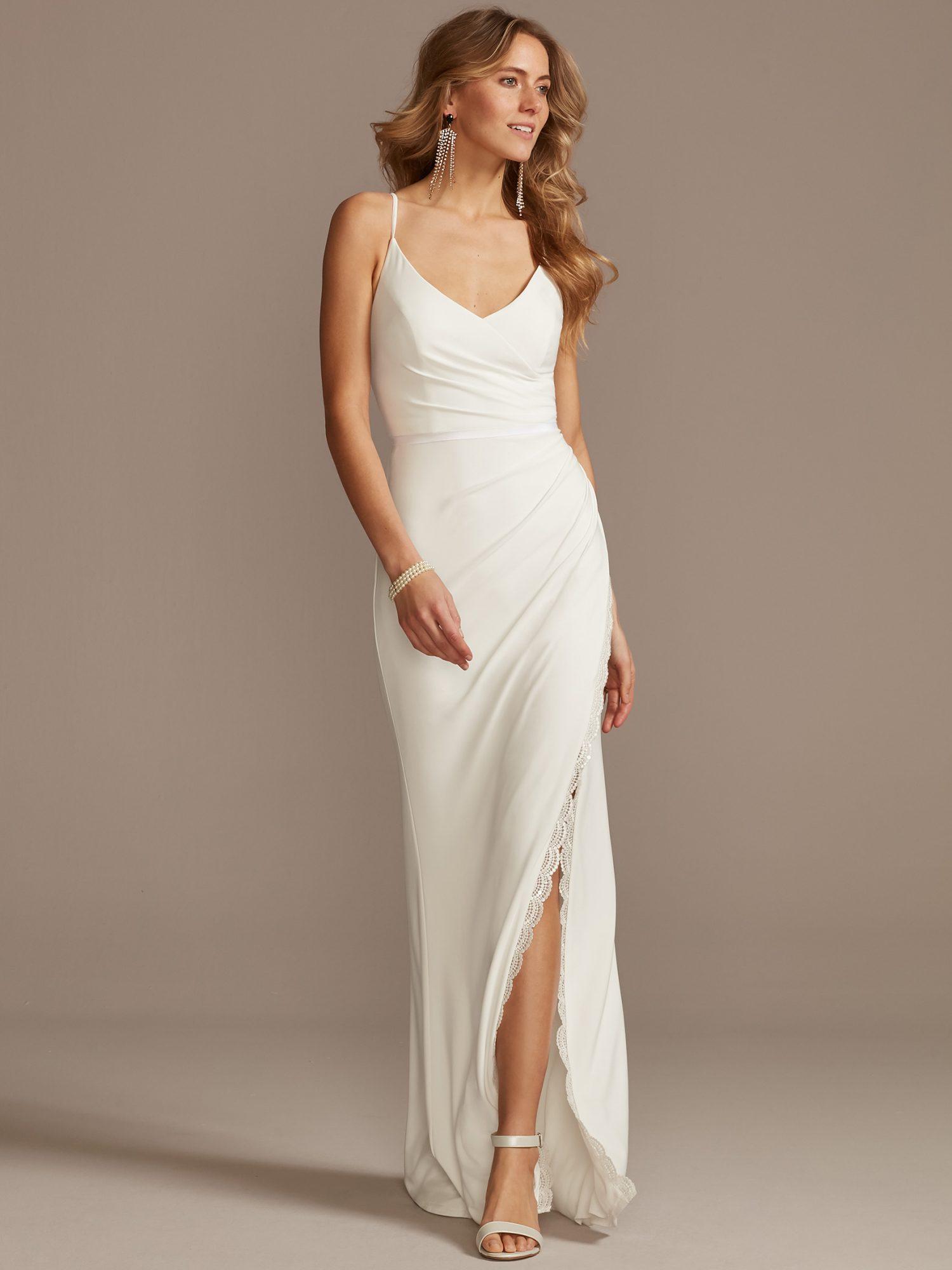 davids bridal thin strap side slit wedding dress spring 2021