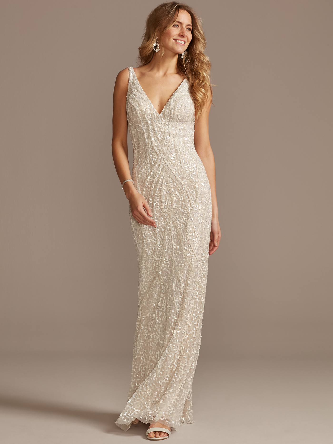davids bridal bead embroidered a-line wedding dress spring 2021