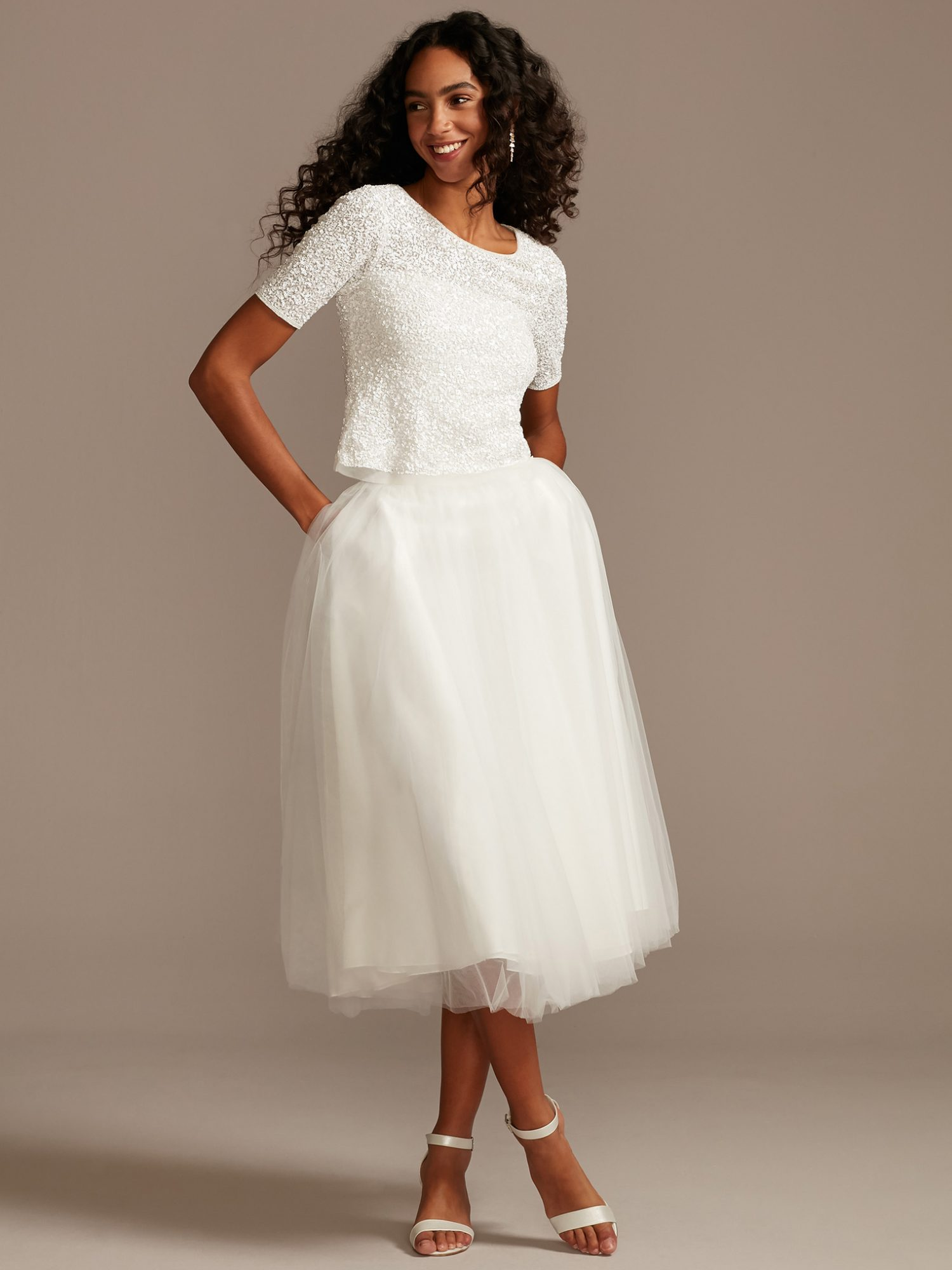 davids bridal two piece quarter sleeve glittery top with tea length tulle skirt wedding dress spring 2021