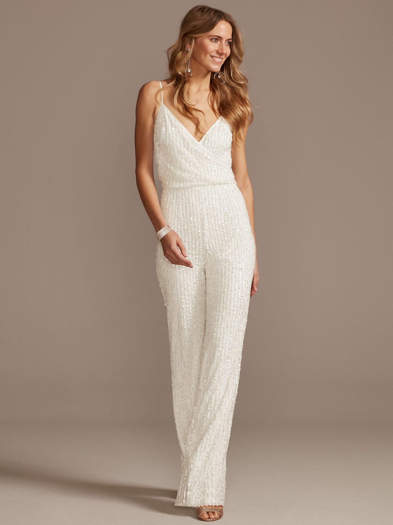 davids bridal beaded jumpsuit wedding dress spring 2021