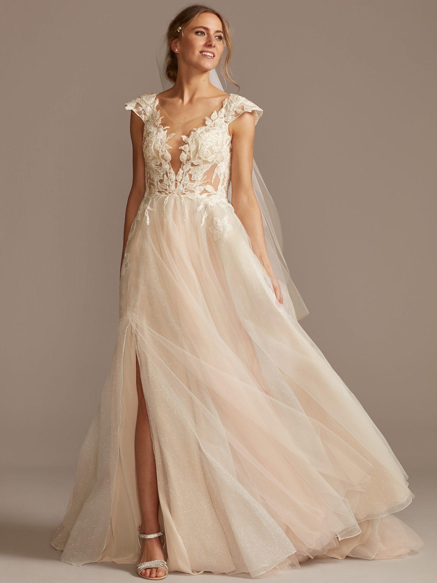 davids bridal cap sleeve embroidered side slit tulle skirt wedding dress spring 2021