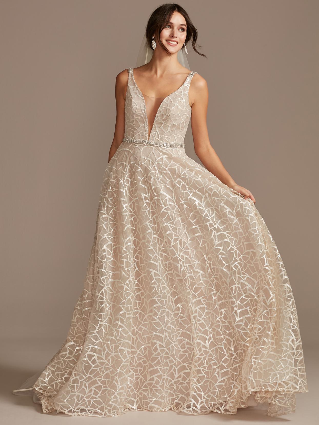 davids bridal plunging v-neck beaded waist wedding dress spring 2021