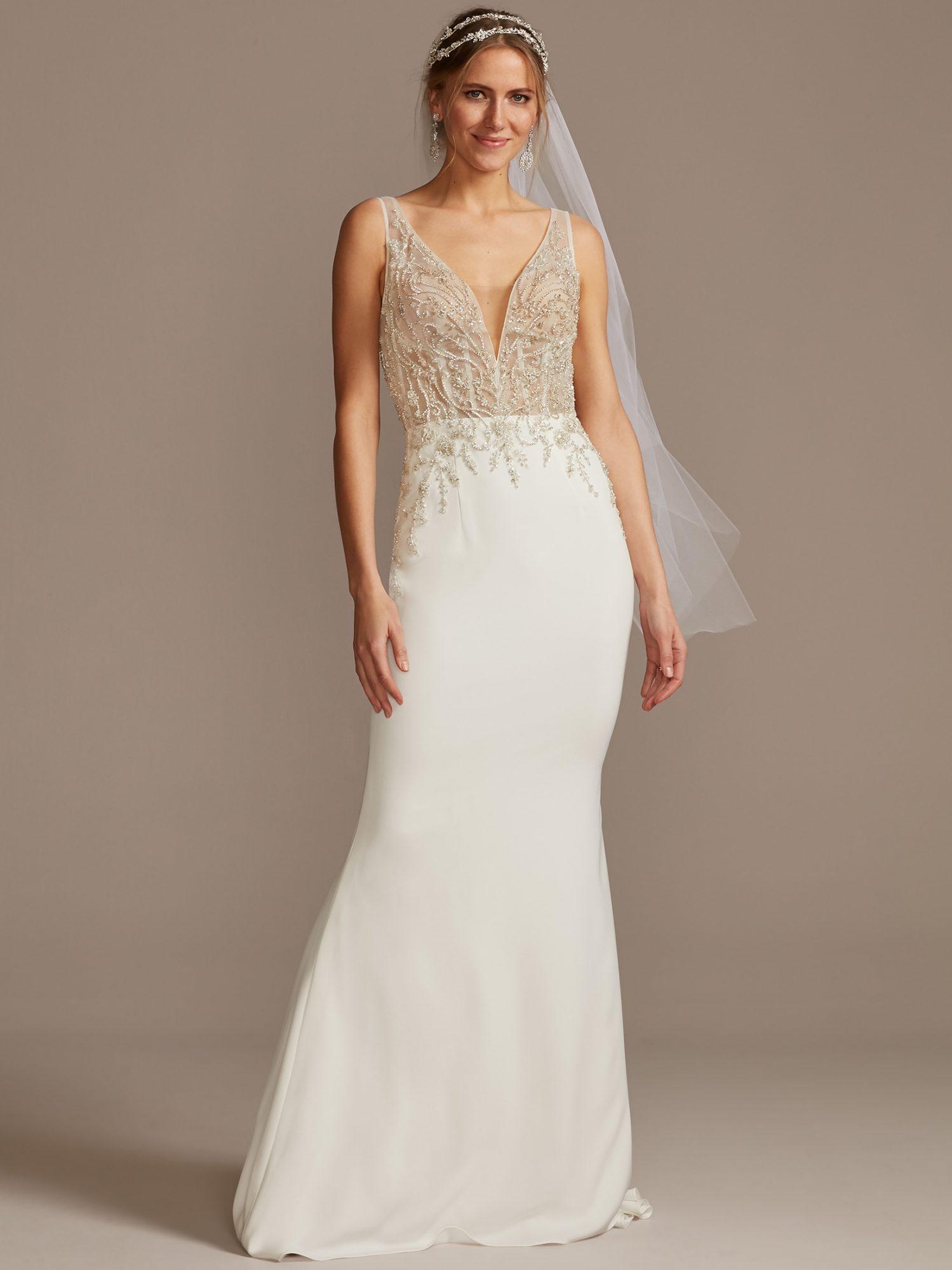davids bridal deep v-neck corset bodice wedding dress spring 2021