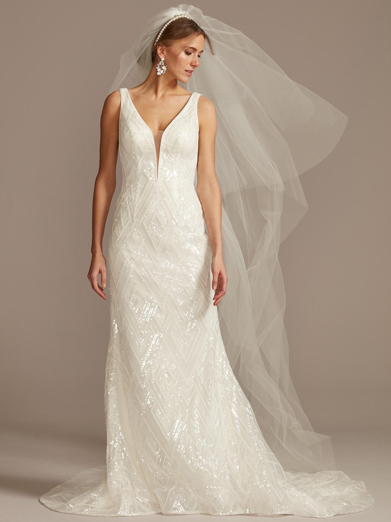 davids bridal glittery deep v-neck wedding dress spring 2021