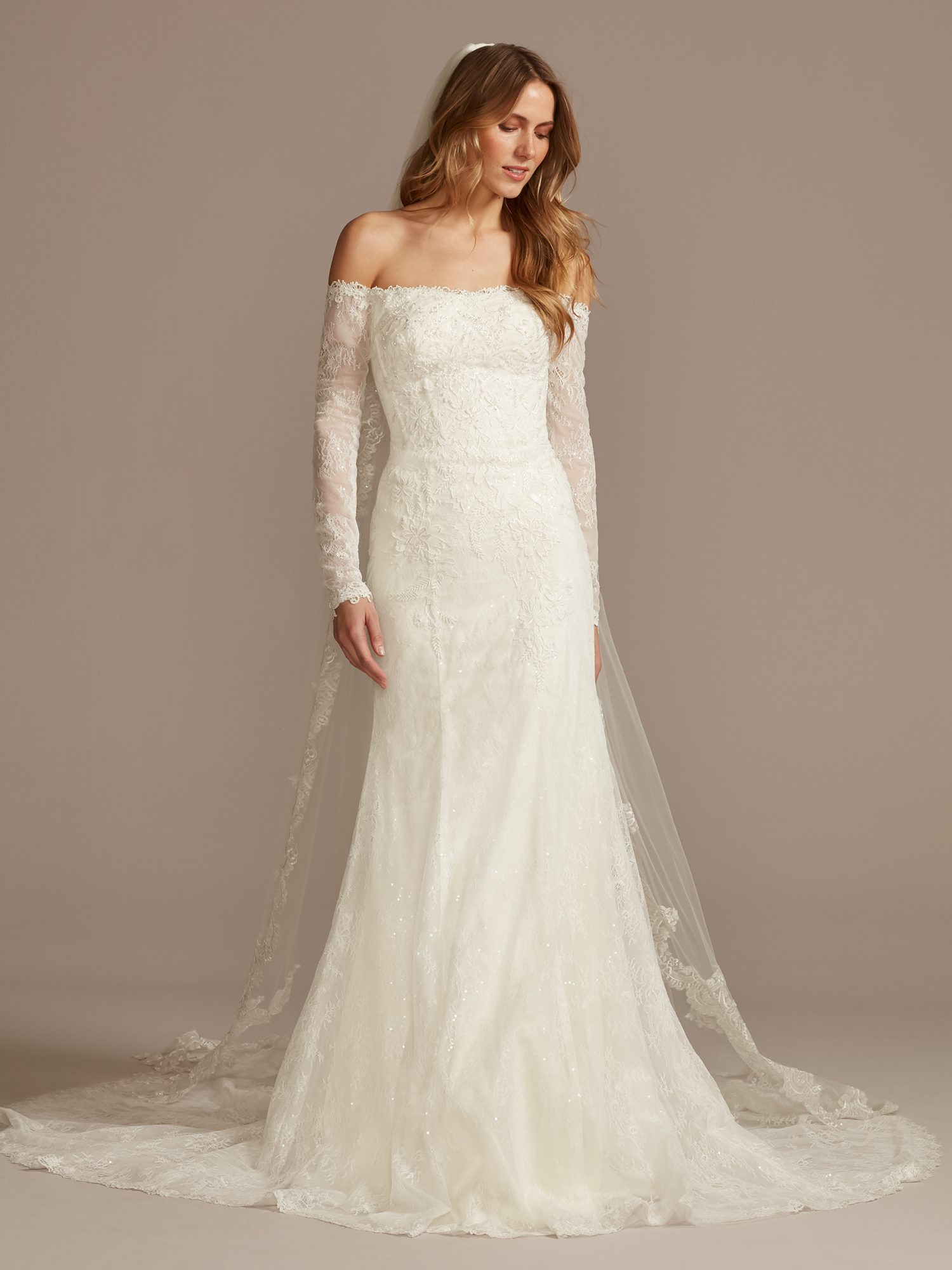 davids bridal off-the-shoulder long sleeve wedding dress spring 2021
