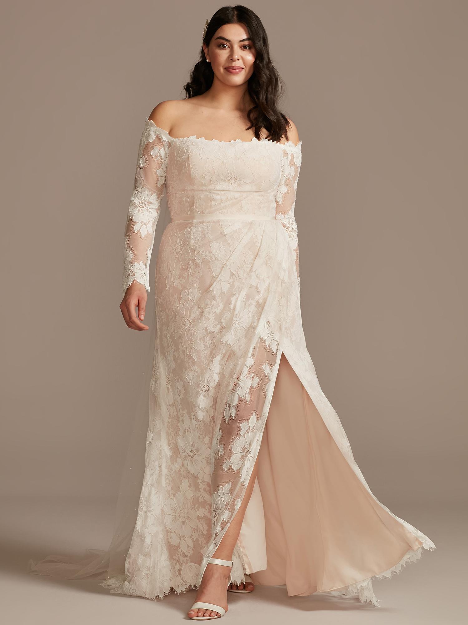 davids bridal off-the-shoulder lace side slit wedding dress spring 2021