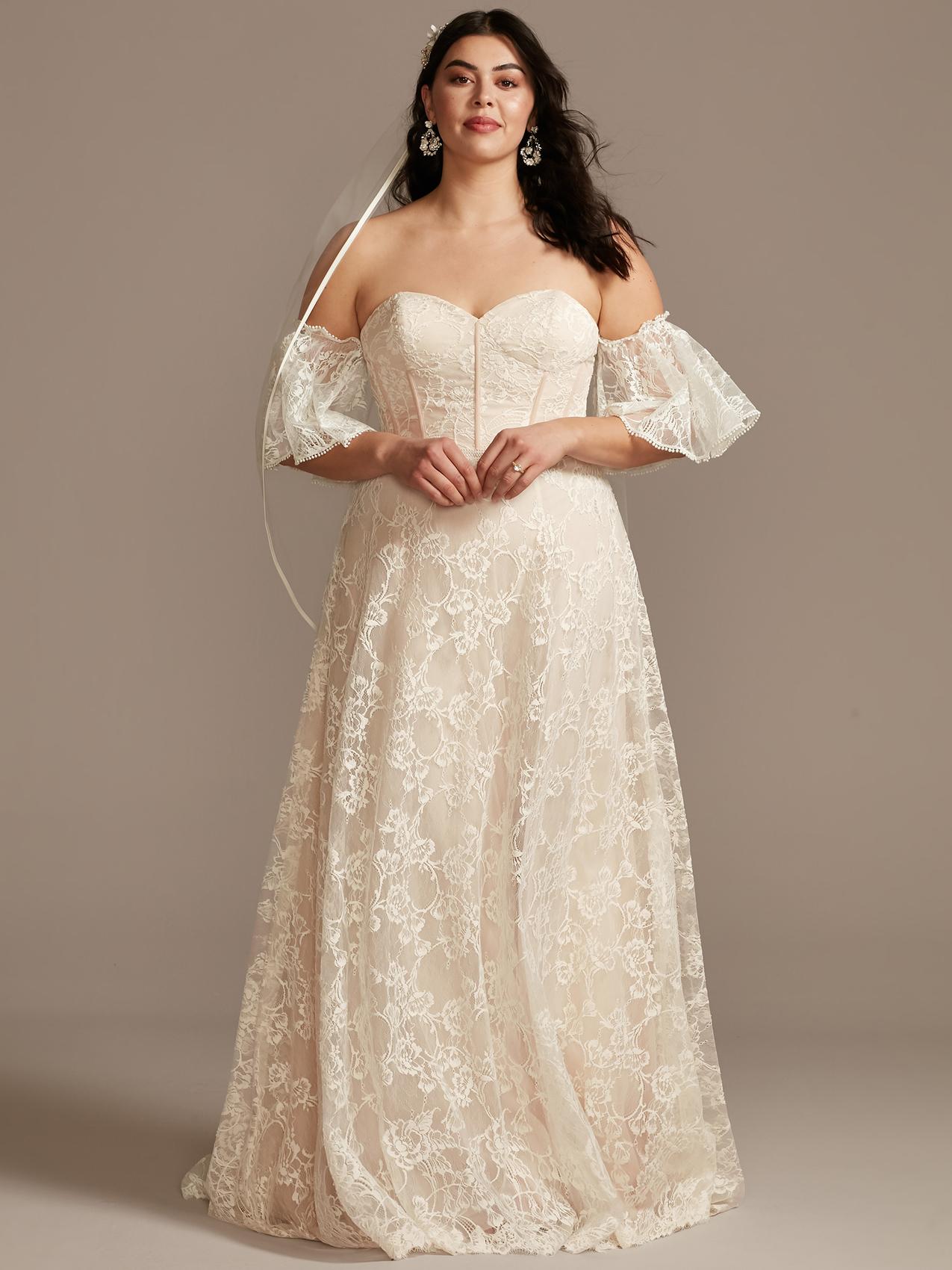 davids bridal sweetheart neckline corset bodice wedding dress spring 2021