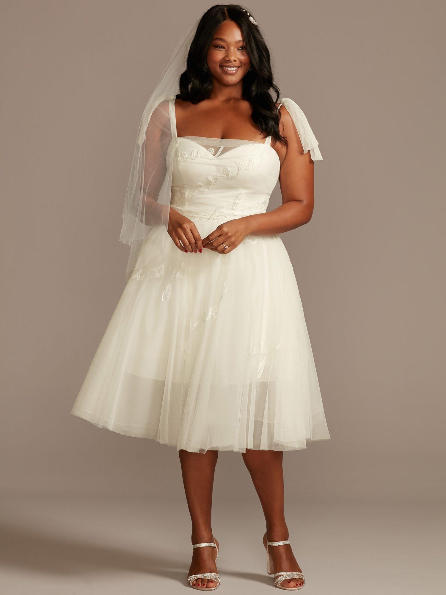davids bridal tea length tulle skirt wedding dress spring 2021