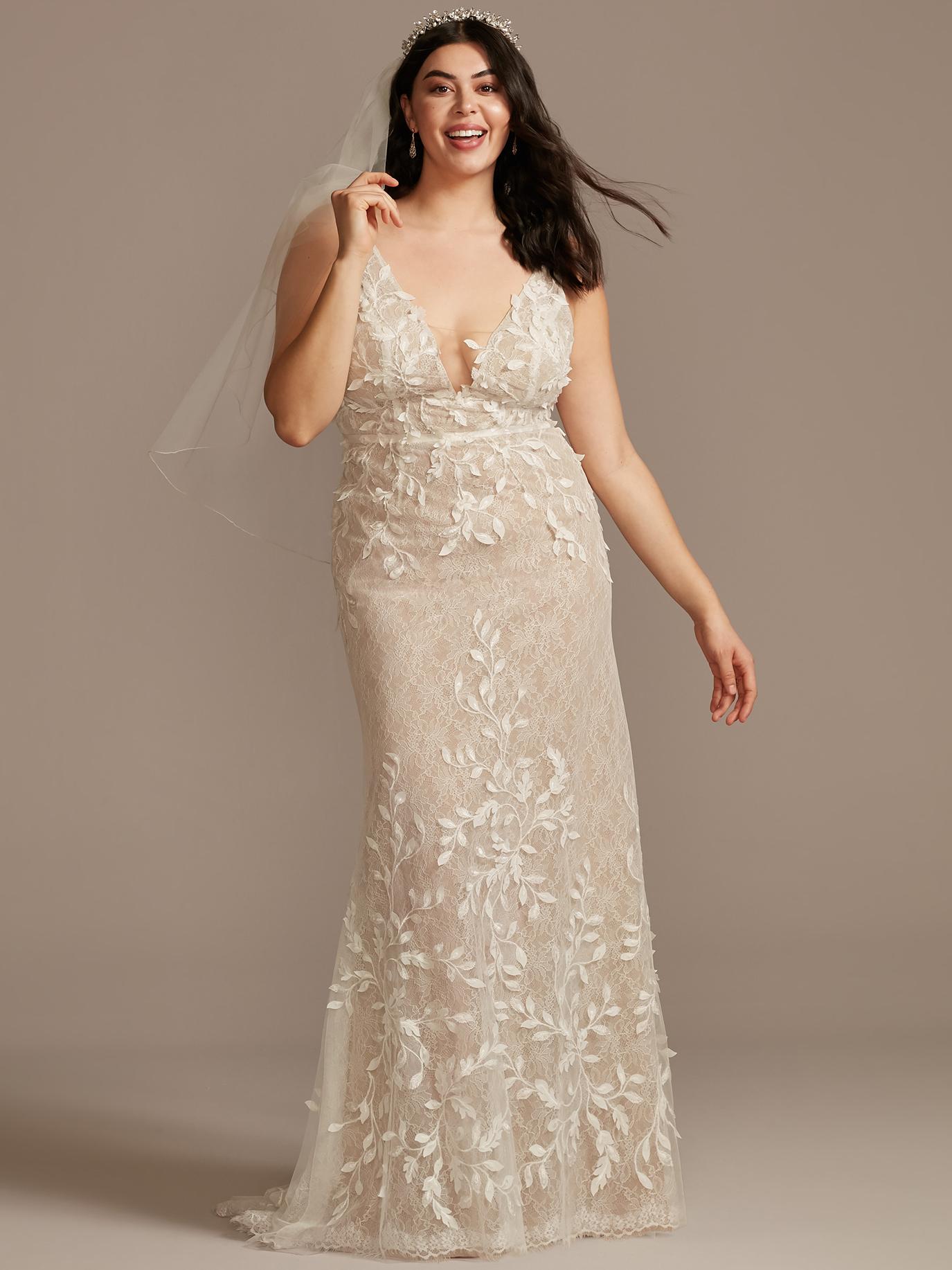 davids bridal plunging v-neck lace wedding dress spring 2021