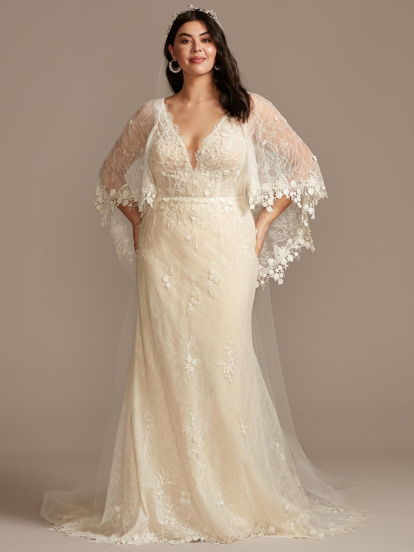 davids bridal cape sleeve deep v-neck wedding dress spring 2021