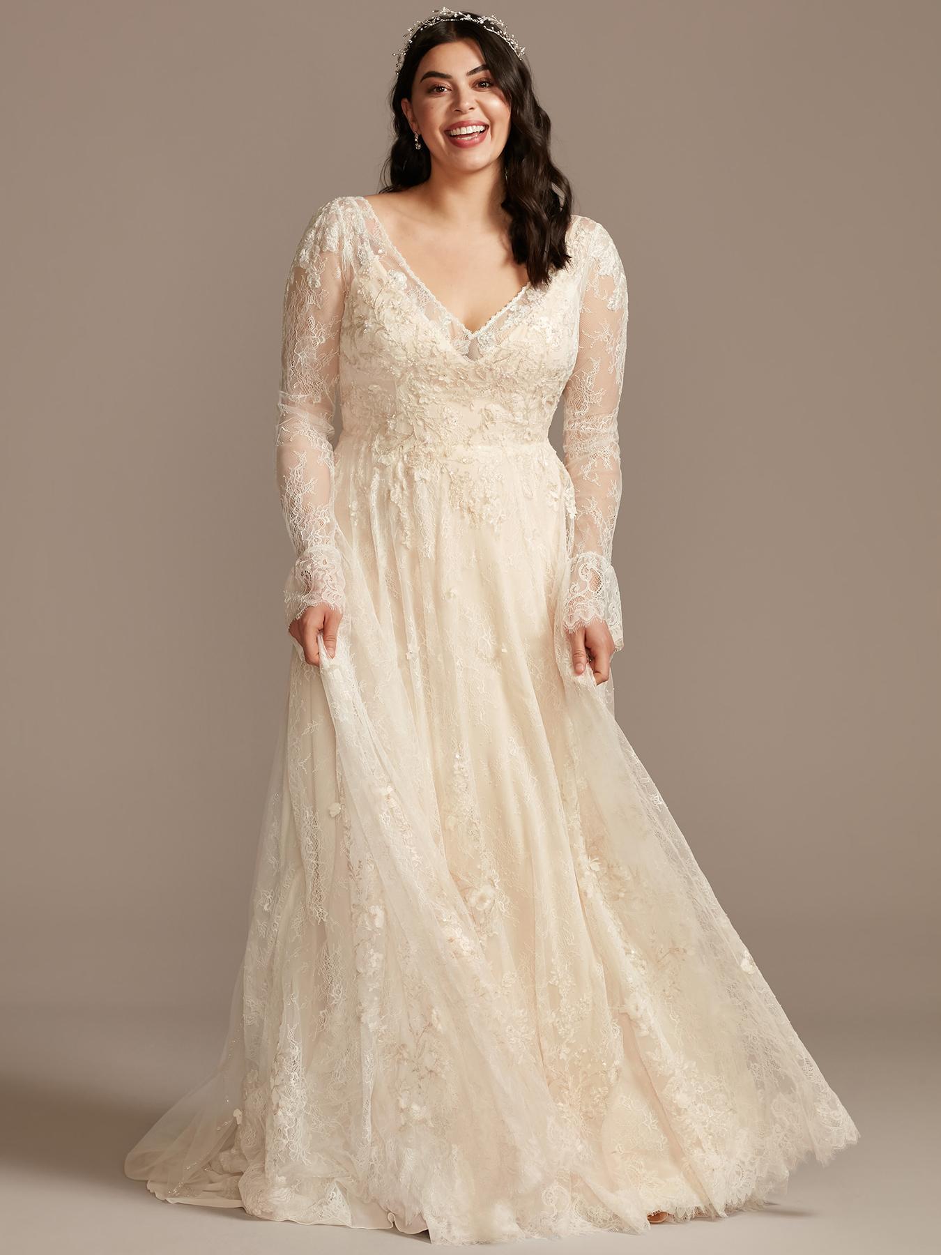 davids bridal v-neck lace long sleeve wedding dress spring 2021