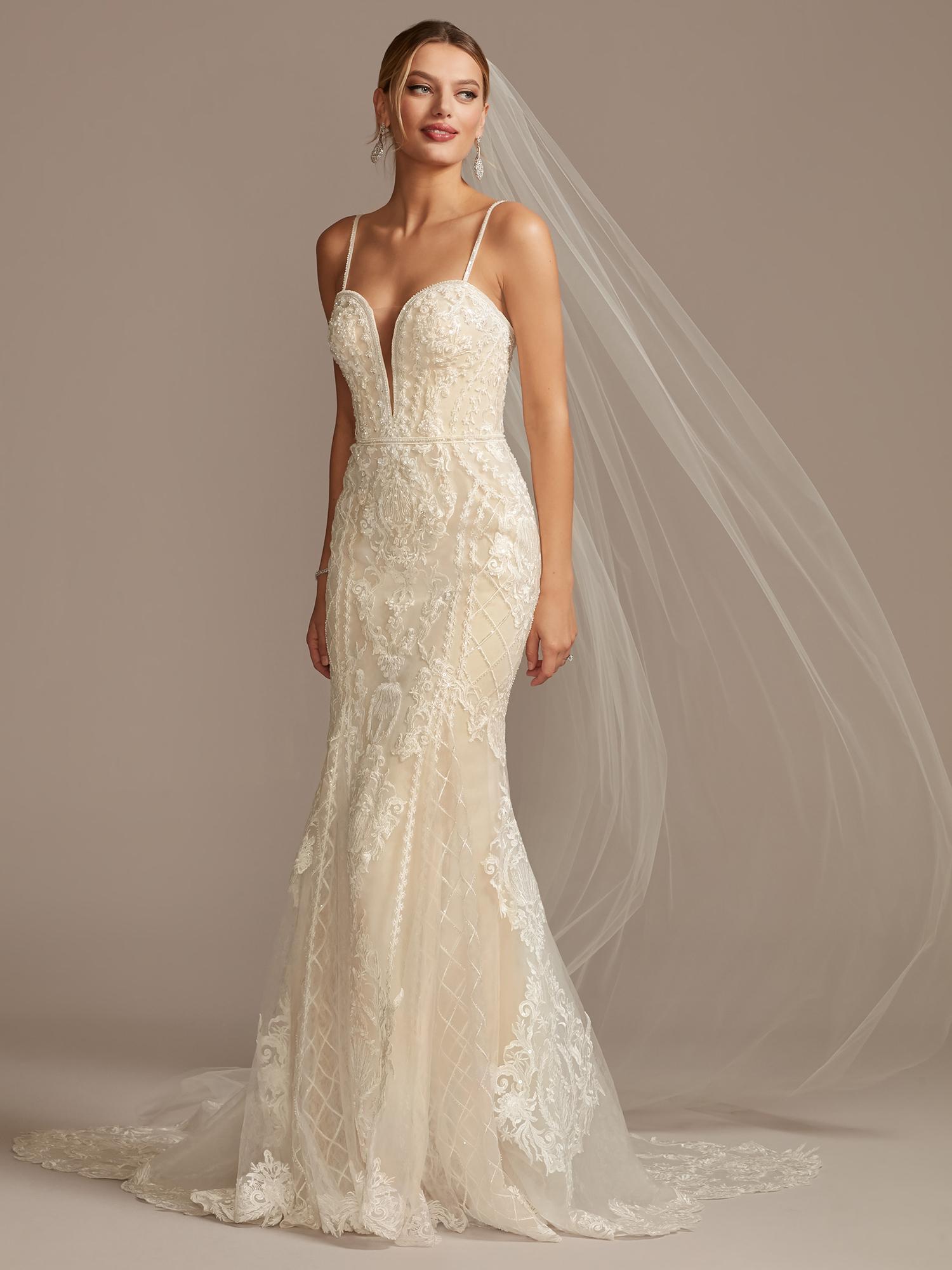 davids bridal plunging v-neck thin strap lace wedding dress spring 2021