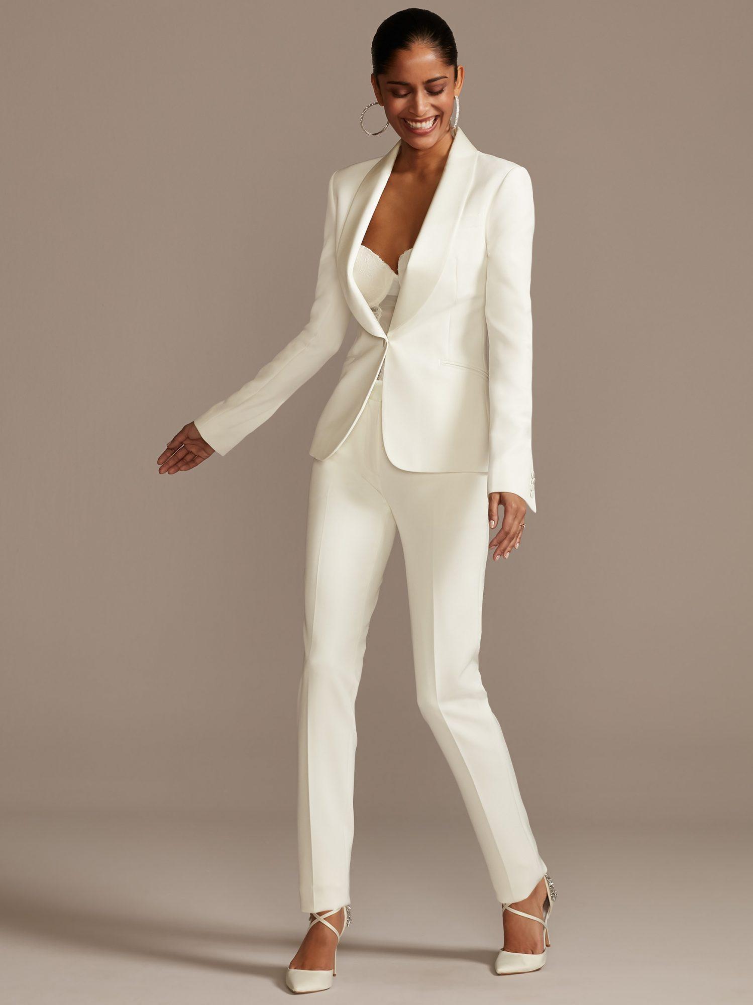 davids bridal pant suit wedding dress spring 2021