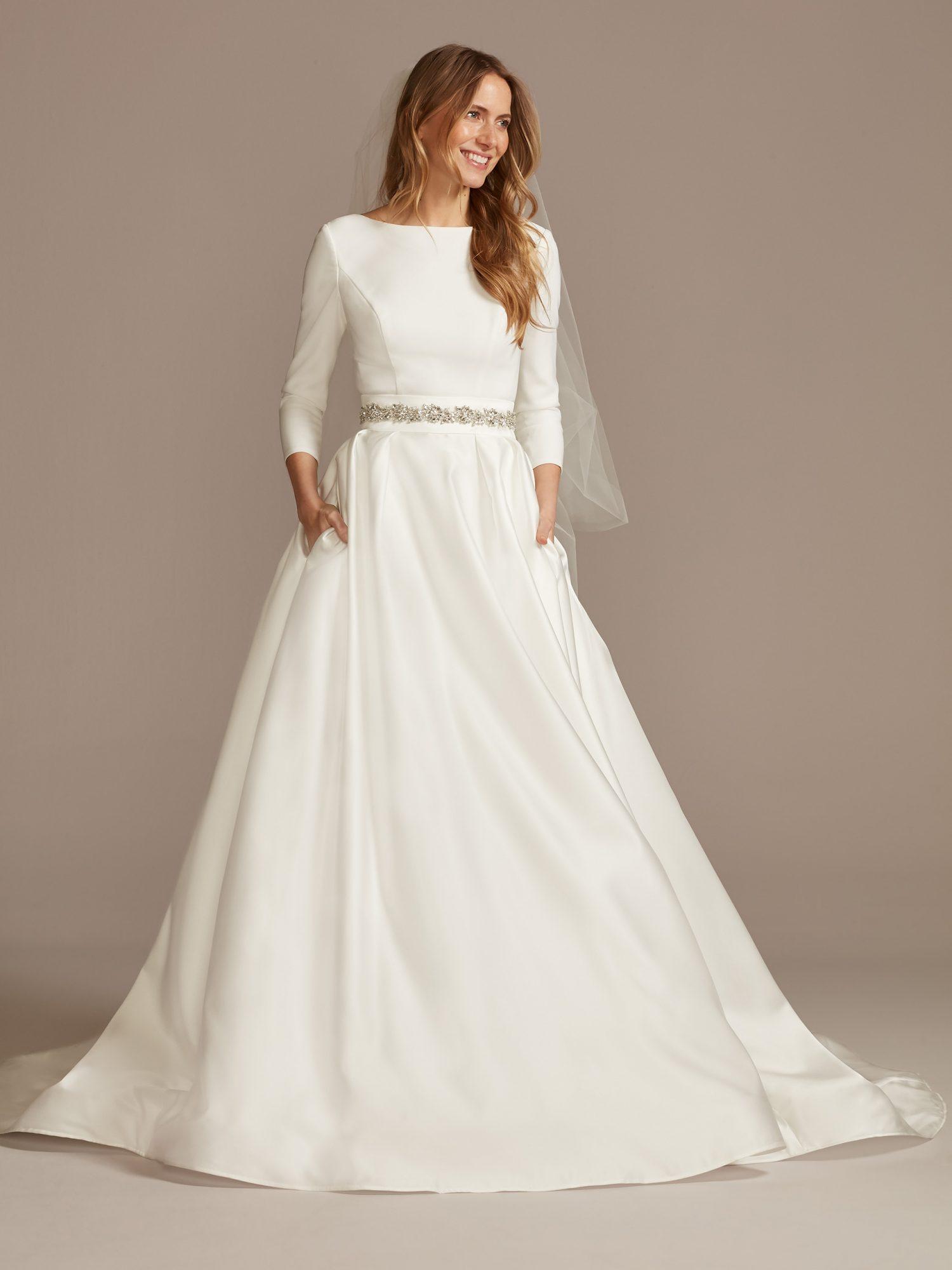 davids bridal high neck long sleeve belted wedding dress spring 2021