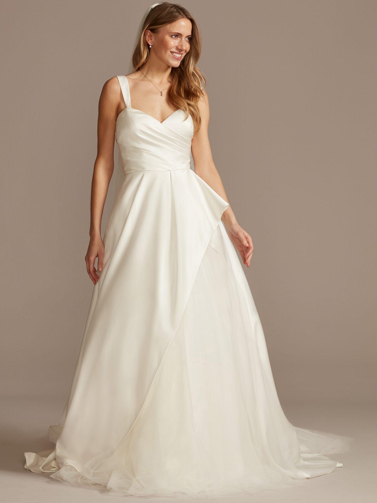 davids bridal wide strap semi v-neck a-line wedding dress spring 2021