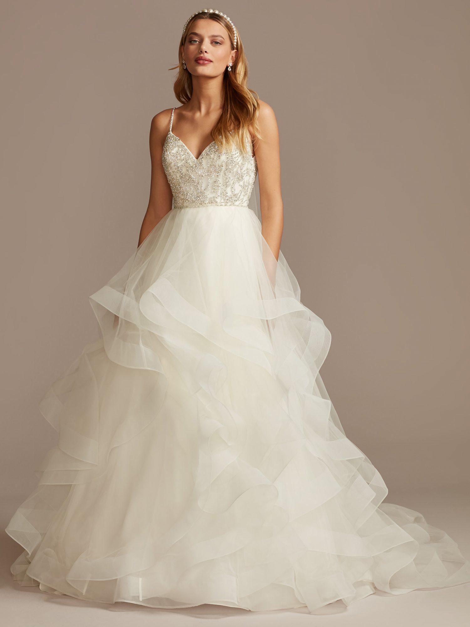 davids bridal layered tulle skirt a-line wedding dress spring 2021