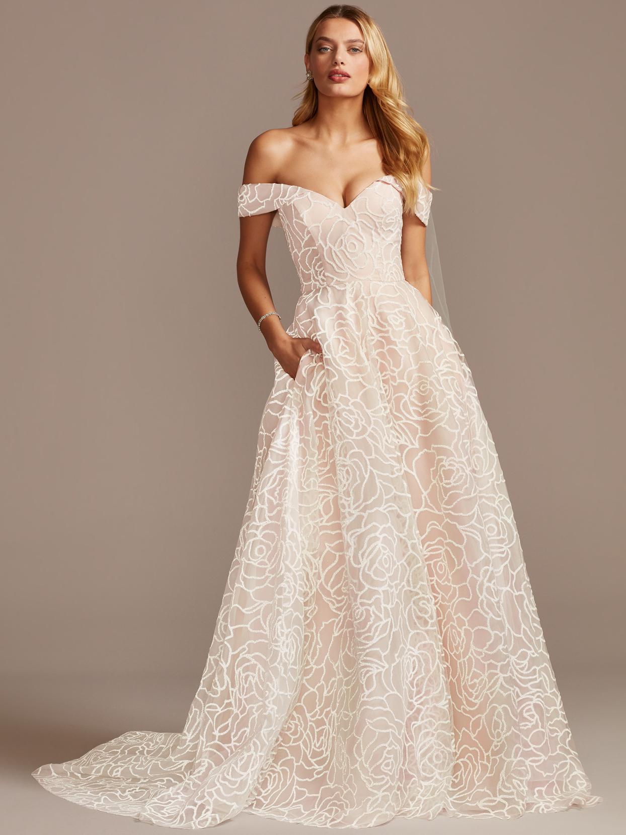 davids bridal off-the-shoulder floral print embroidered wedding dress spring 2021