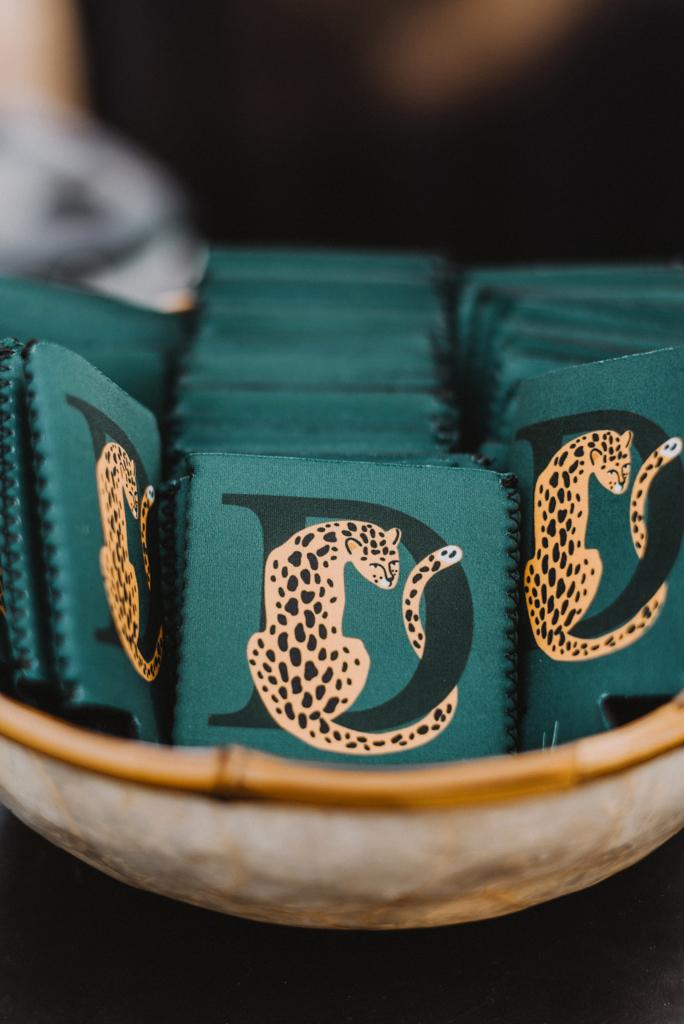 custom d and leopard koozie favors