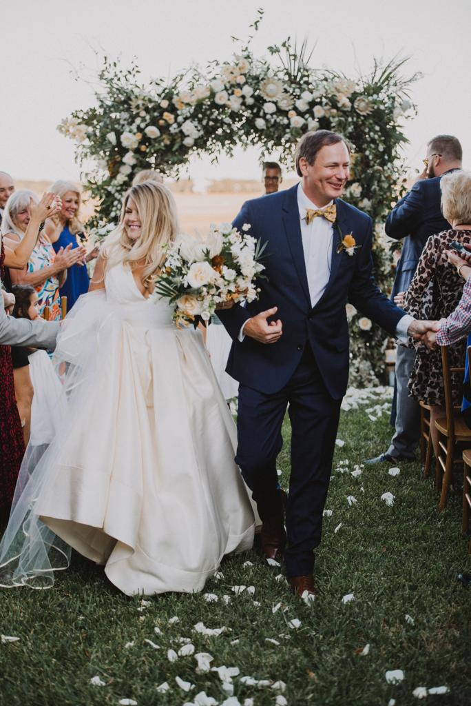 bride and groom ceremonial recessional