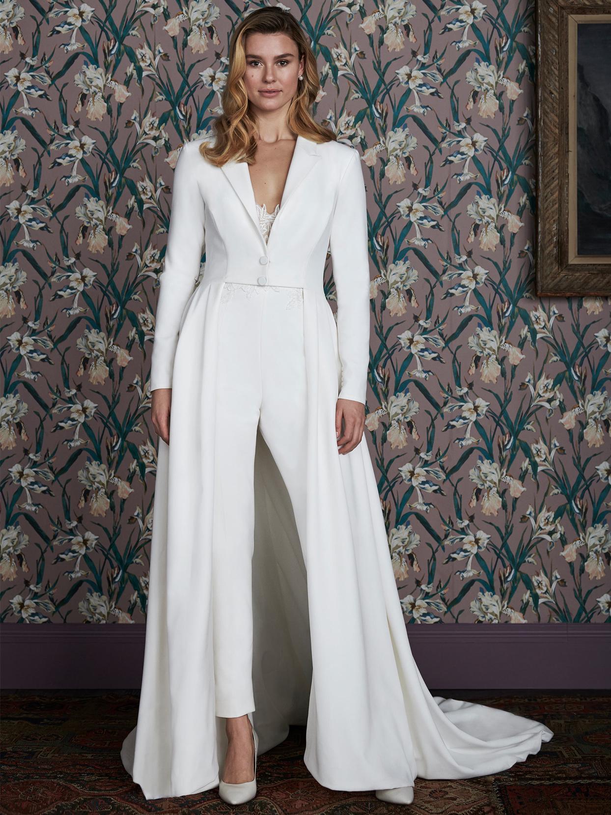 justin alexander long sleeve cape jumpsuit wedding dress spring 2021