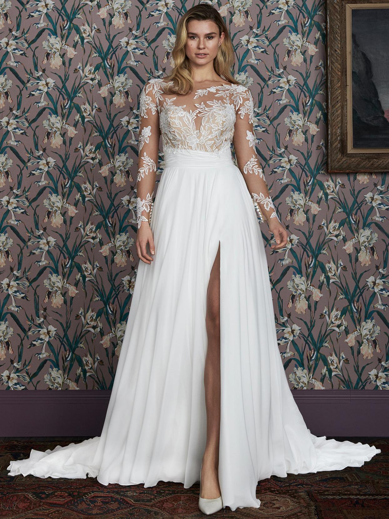 justin alexander sheer lace long sleeve side slit wedding dress spring 2021