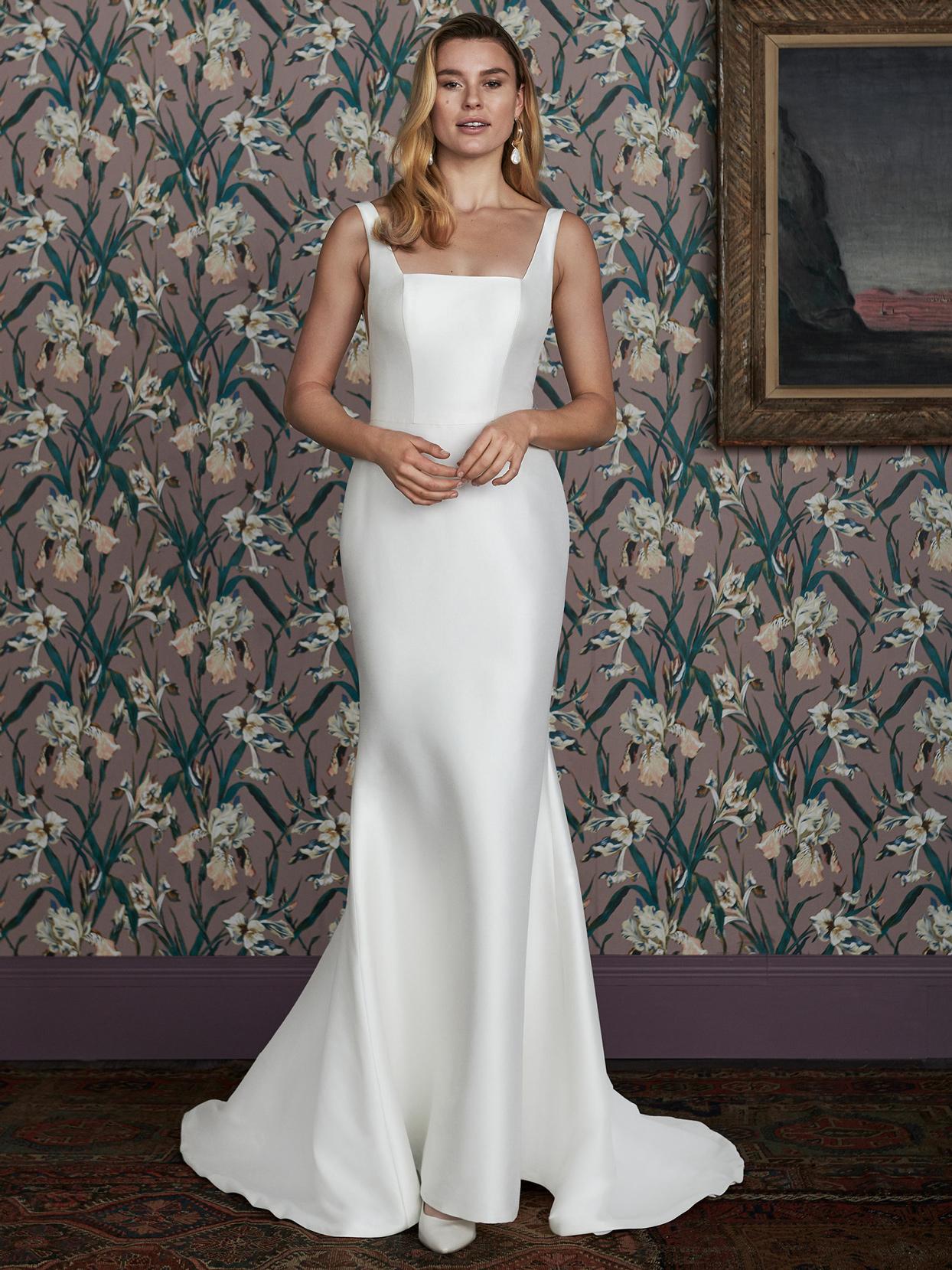 justin alexander square neck semi-mermaid wedding dress spring 2021