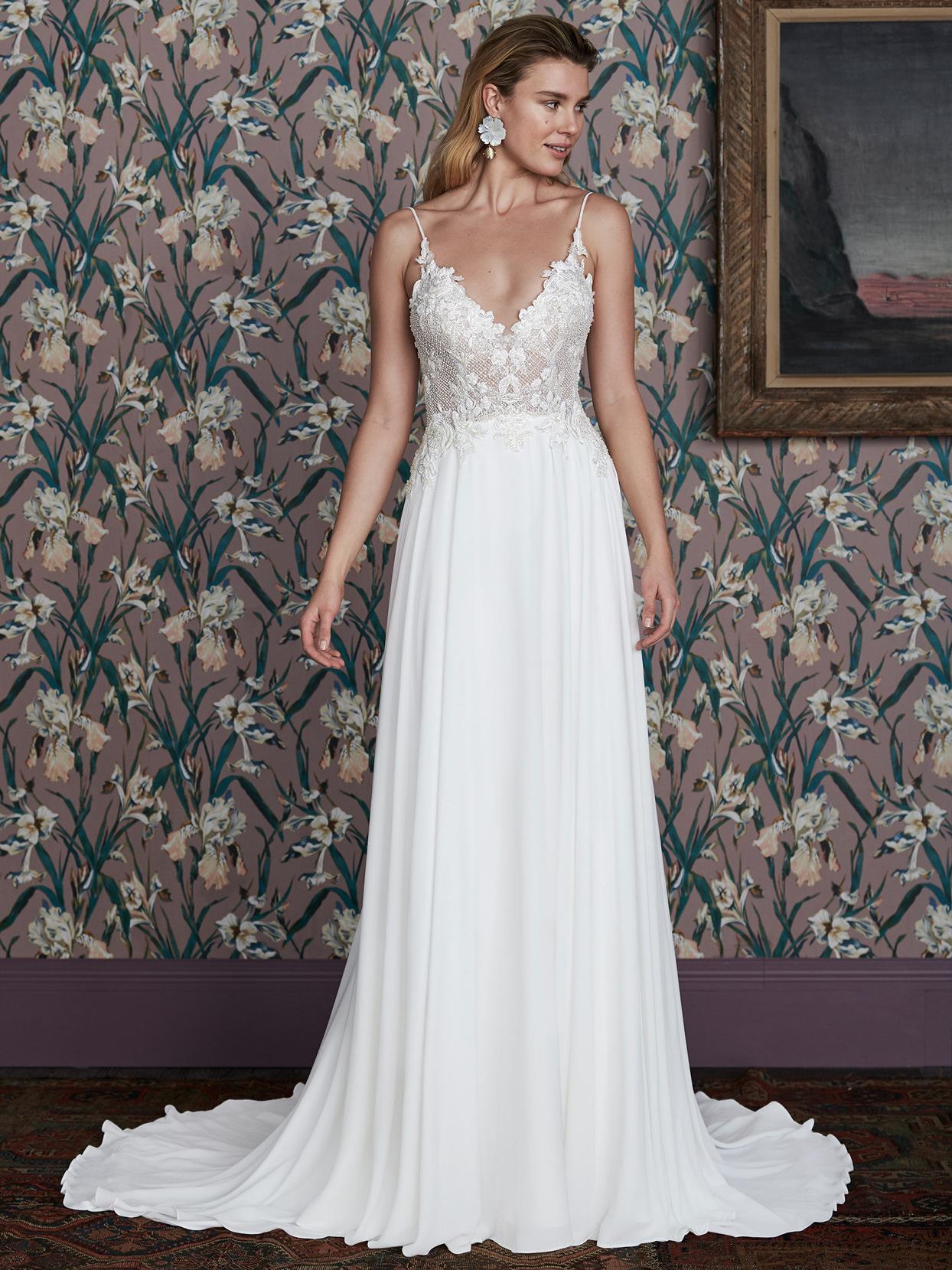 justin alexander sheer lace bodice v-neck wedding dress spring 2021