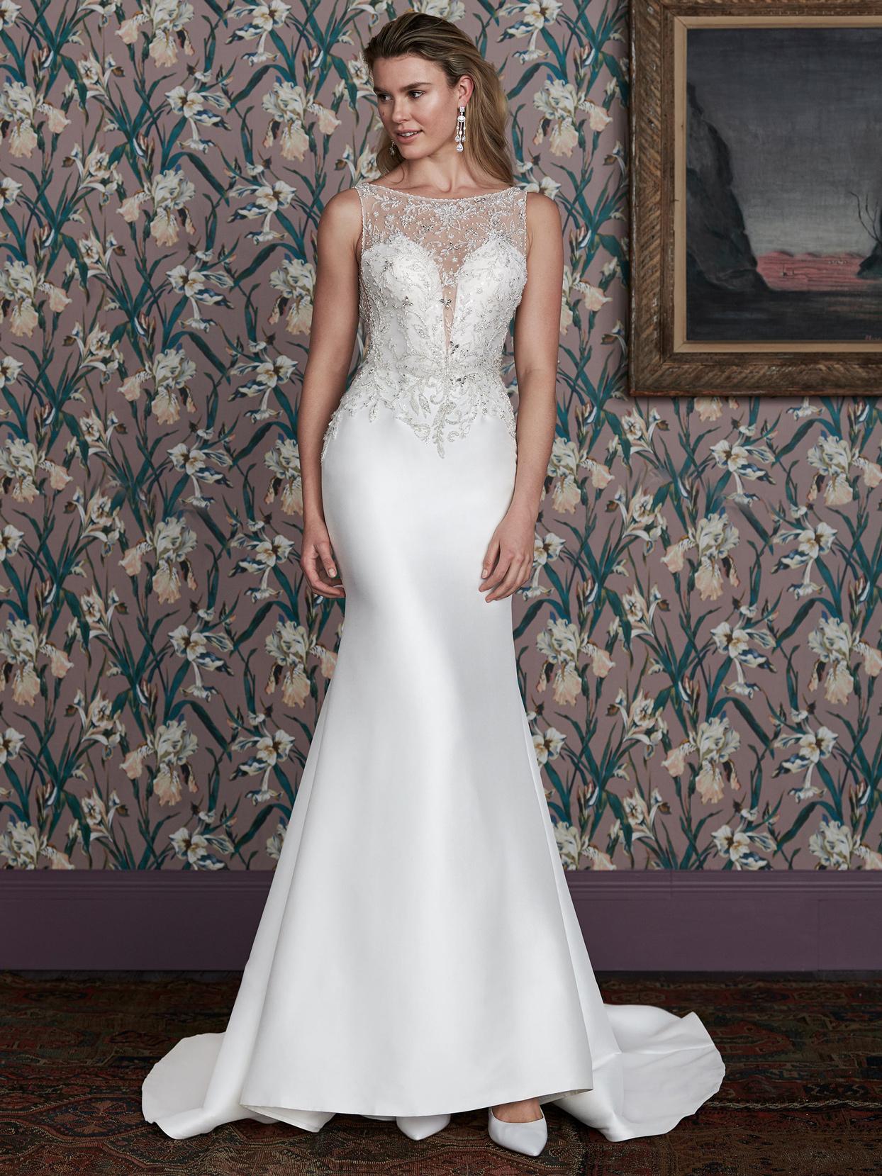 justin alexander illusion lace high neck plunging v-neck wedding dress spring 2021