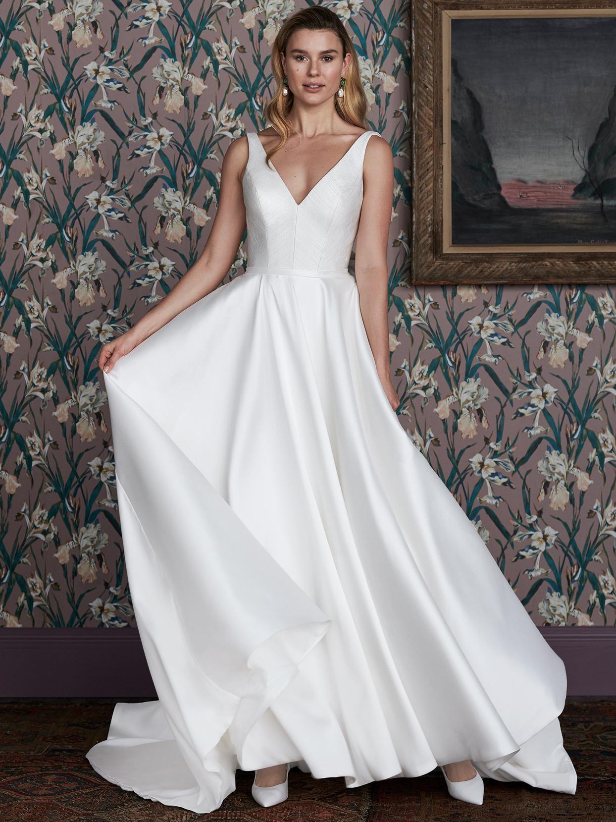 justin alexander v-neck a-line sleeveless wedding dress spring 2021