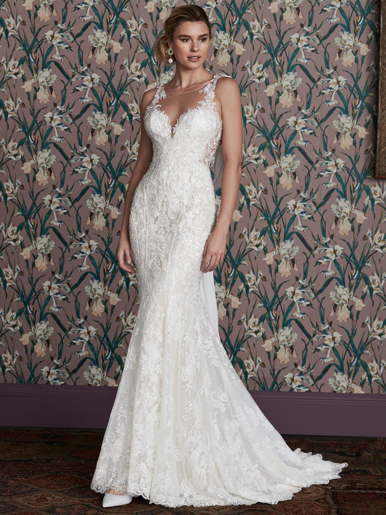 justin alexander lace v-neck illusion sheer side wedding dress spring 2021