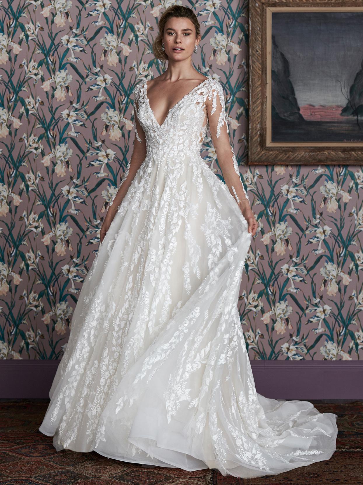 justin alexander lace long sleeve v-neck wedding dress spring 2021