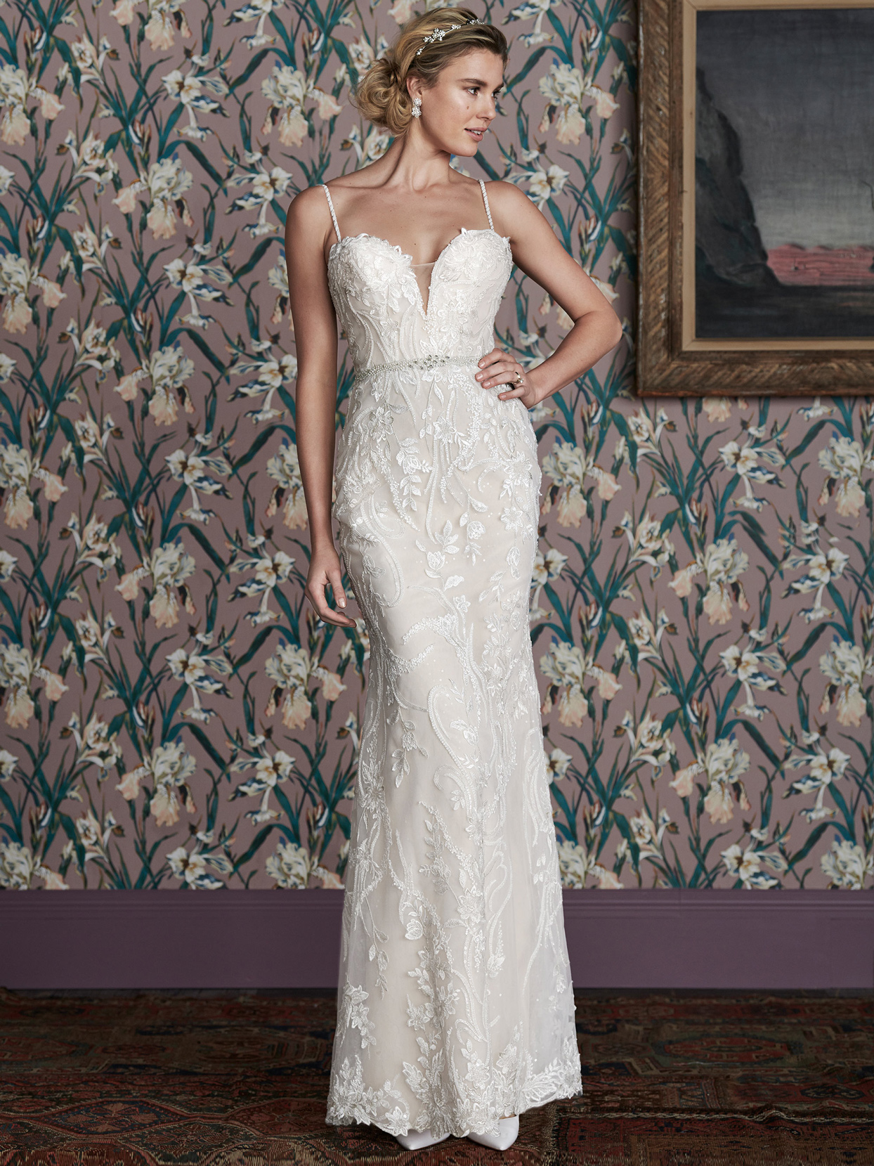 justin alexander fitted thin strap plunging v-neck lace wedding dress spring 2021
