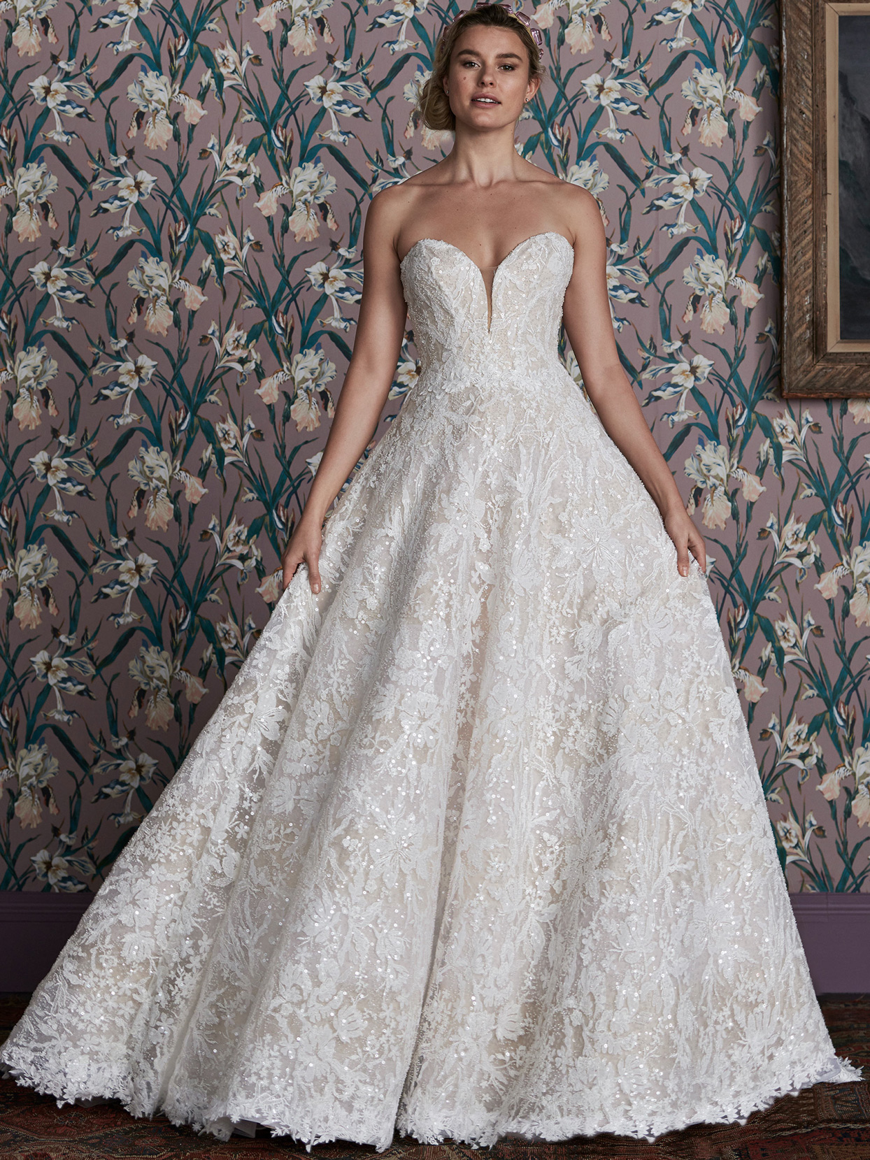 justin alexander beaded lace strapless a-line wedding dress spring 2021