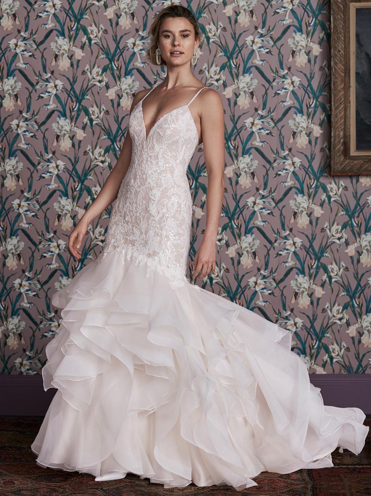 justin alexander layered mermaid skirt lace deep v-neck bodice wedding dress spring 2021