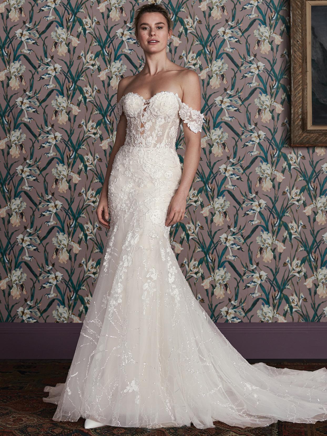 justin alexander sheer corset bodice off-the-shoulder wedding dress spring 2021