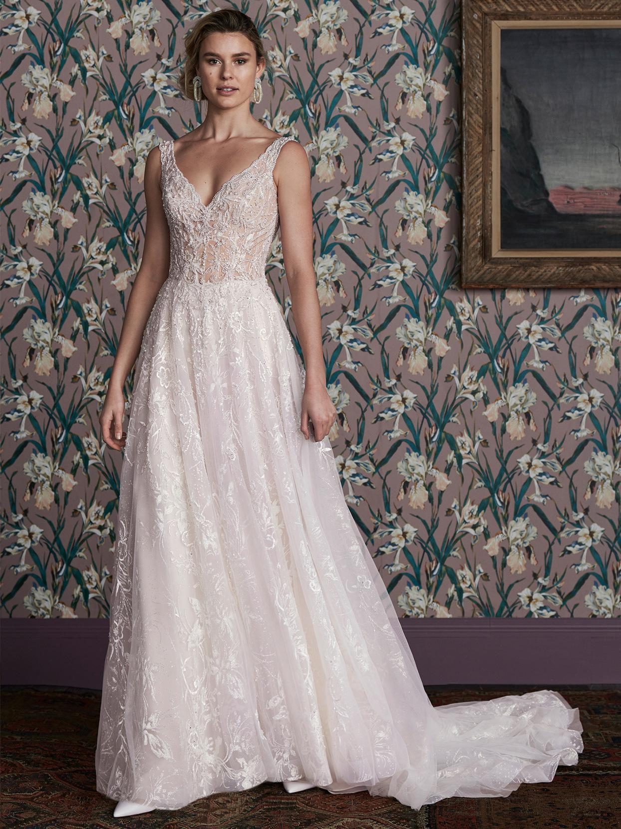 justin alexander sheer lace bodice a-line wedding dress spring 2021