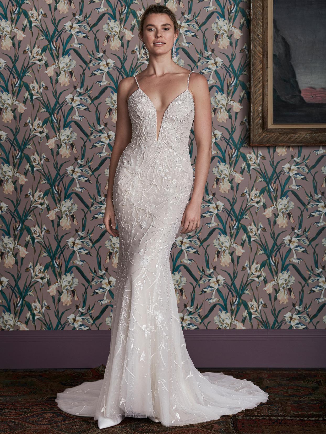 justin alexander plunging v-neck thin strap fitted wedding dress spring 2021