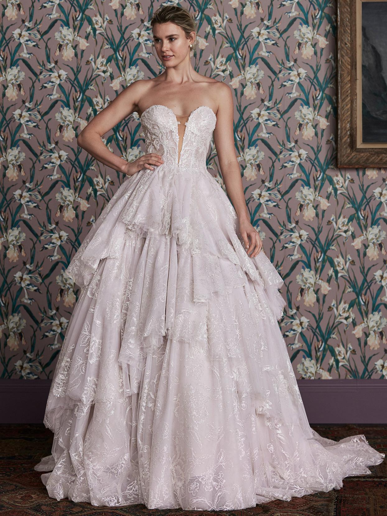 justin alexander plunging v-neck layered a-line wedding dress spring 2021