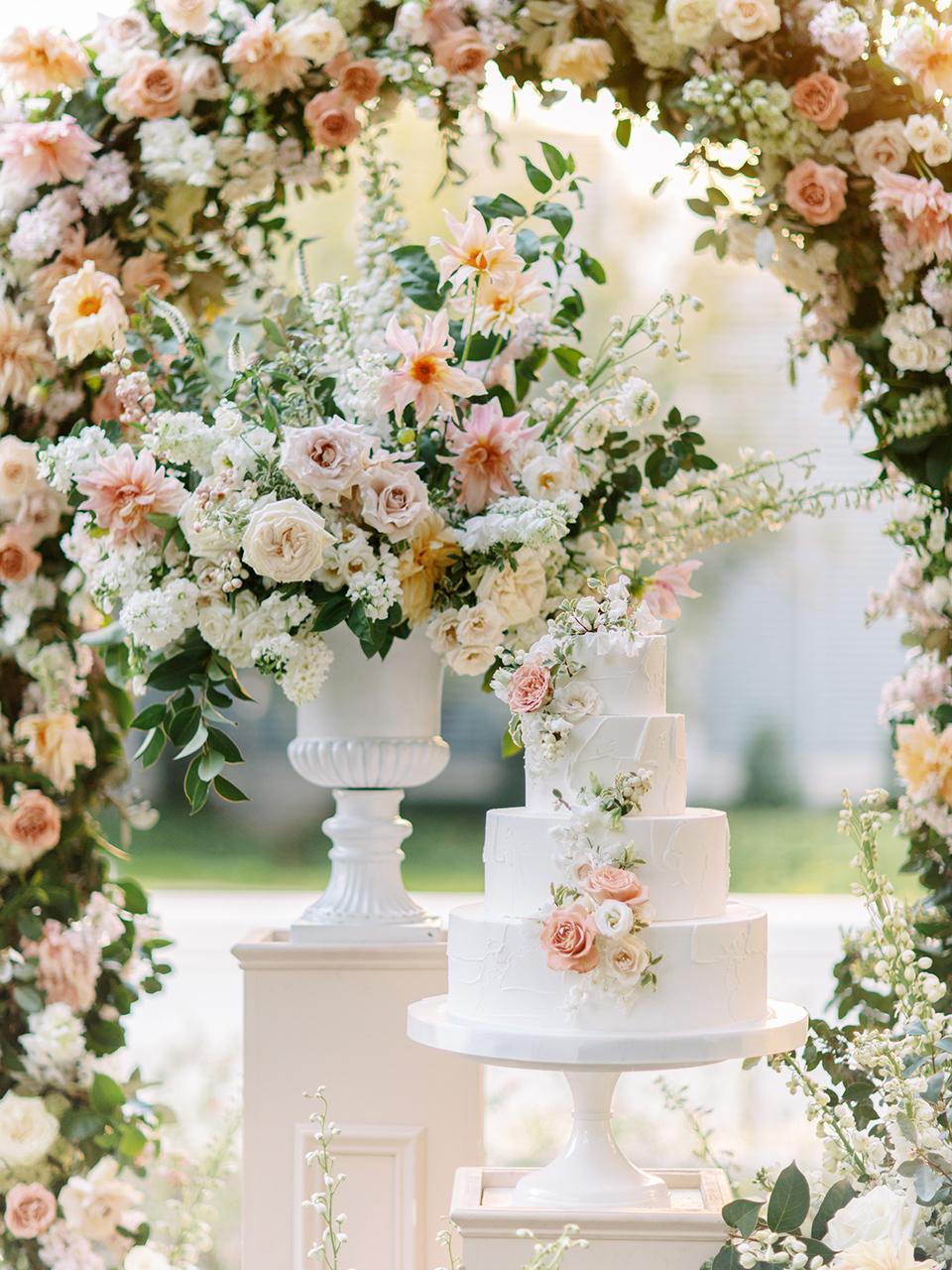layered wedding cake floral display